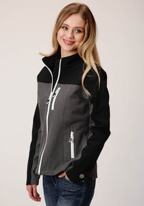 WOMENS BLACK AND HEATHERED GRAY PIECED SOFTSHELL WITH BLACK LINING ZIP FRONT JACKET