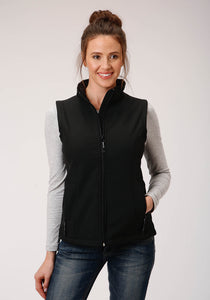 WOMENS BLACK SOFTSHELL WITH BLACK FLEECE LINING ZIP FRONT VEST