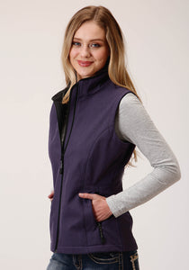 WOMENS TEXTURED PURPLE WITH BLACK LINING ZIP FRONT VEST