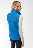 WOMENS MARINE BLUE WITH NAVY FLEECE BACKING SOFTSHELL VEST