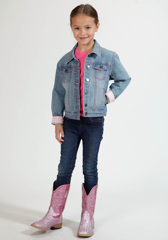 GIRLS BLUE DENIM WITH PINK PLAID LINING JACKET