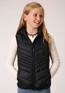 GIRLS BLACK PARACHUTE POLY FILLED ZIP FRONT VEST