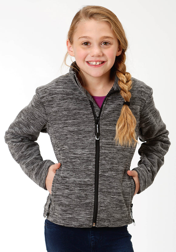 GIRLS BLACK AND WHITE MICRO FLEECE JACKET