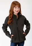 GIRLS GREY TEXTURED WITH SOLID BLACK FLEECE BONDED SOFTSHELL JACKET