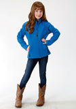 GIRLS MARINE BLUE WITH NAVY FLEECE BACKING SOFTSHELL JACKET