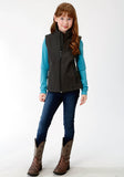 GIRLS GREY TEXTURED WITH SOLID BLACK FLEECE BONDED SOFTSHELL VEST