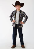 BOYS OLIVE PLAID REVERSIBLE SNAP JACKET