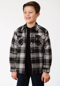 BOYS BLACK AND GREY PLAID SHERPA LINED FLANNEL SNAP WESTERN SHIRT