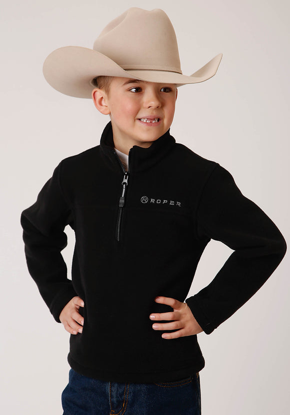 BOYS BLACK MICRO FLEECE  3/4 ZIP PULLOVER