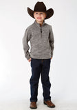 BOYS GREY MICRO FLEECE PULLOVER JACKET