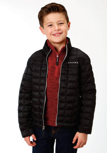 BOYS BLACK RIPSTOP POLY FILLED JACKET