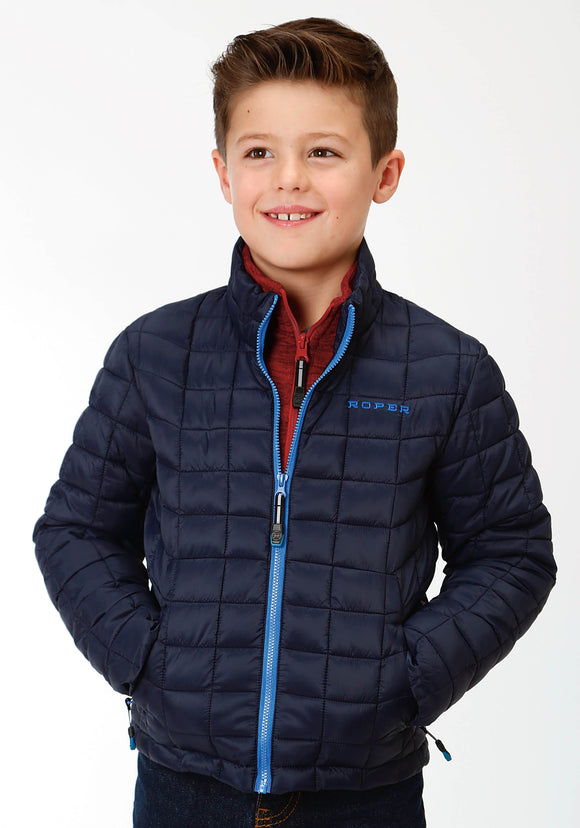 BOYS BLACK PARACHUTE POLY FILLED ZIP FRONT JACKET