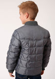 BOYS GRAY QUILTED POLY FILLED  ZIP FRONT JACKET