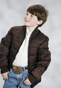 BOYS BROWN POLY-FILLED JACKET