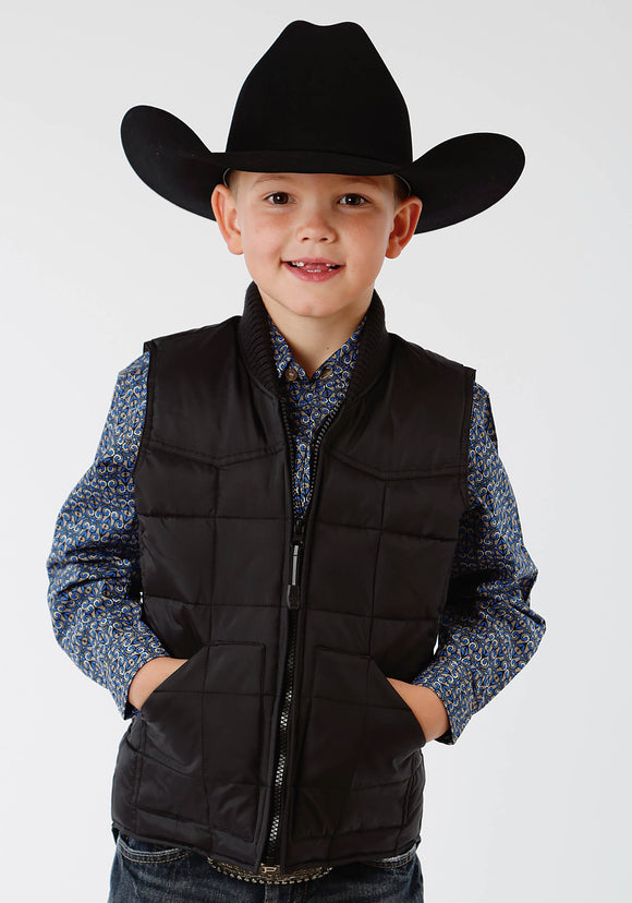 BOYS BLACK POLY-FILLED VEST