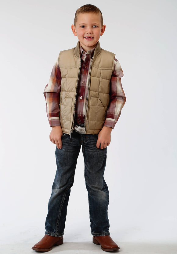 BOYS KHAKI POLY-FILLED VEST