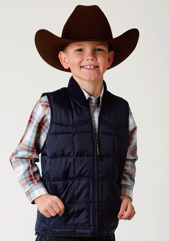 BOYS NAVY BLUE POLY-FILLED VEST