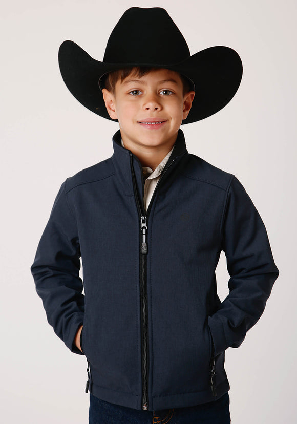BOYS TEXTURED BLUE SOFTSHELL WITH BLACK FLEECE LINING ZIP FRONT JACKET
