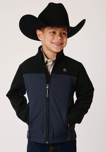 BOYS BLACK AND BLUE PIECED SOFTSHELL WITH BLACK FLEECE LINING ZIP FRONT JACKET