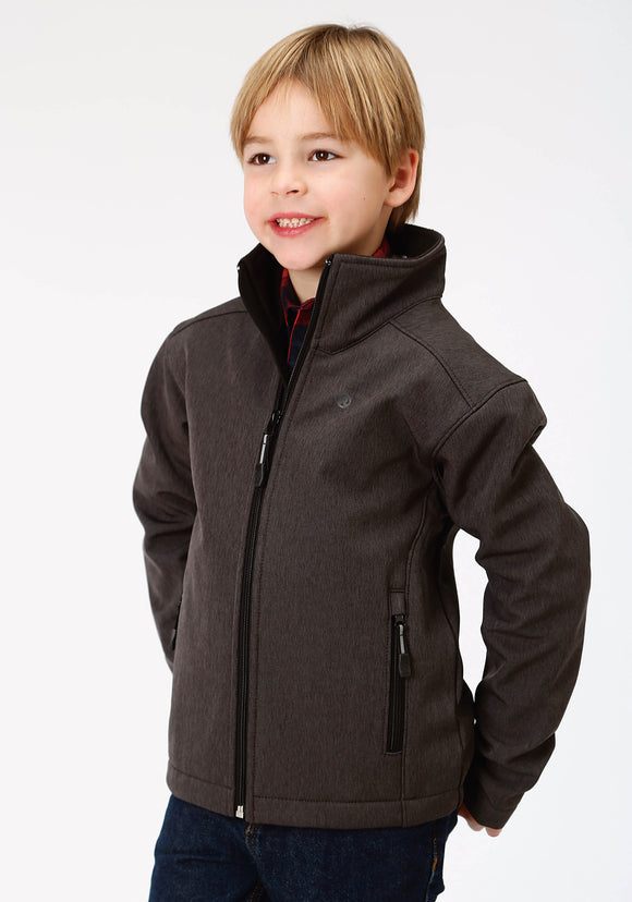 BOYS GREY TEXTURED AND SOLID BLACK BONDED SOFTSHELL JACKET