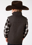 BOYS GREY TEXTURED AND SOLID BLACK BONDED SOFTSHELL VEST