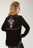 WOMENS BLACK SOLID WITH EMBROIDERY LONG SLEEVE CARDIGAN