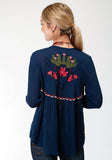 WOMENS BLUE SOLID WITH EMBROIDERY CARDIGAN