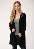 WOMENS BLACK WITH WILD WEST EMBROIDERY LONG SLEEVE CARDIGAN