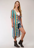 WOMENS BLUE YELLOW AND RED SERAPE PRINT SHORT SLEEVE CARDIGAN