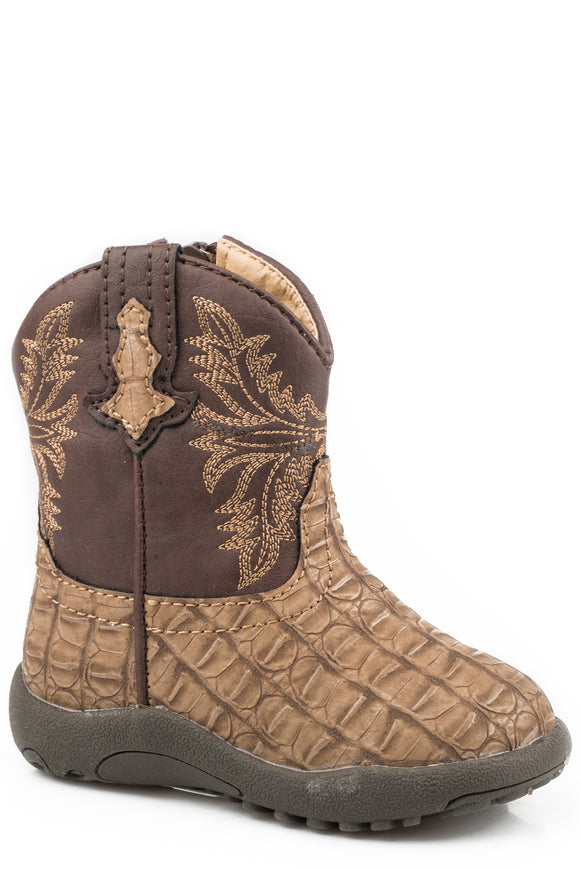 INFANT BOYS TAN EMBOSSED CAIMAN VAMP COWBABY