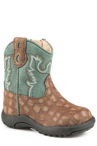 INFANT BOYS BROWN EMBOSSED CAIMAN VAMP COWBABY