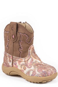 INFANT GIRLS BROWN WITH PINK PAISLEY GLITTER VAMP COWBABY