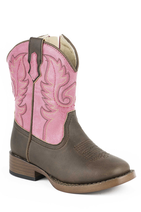 GIRLS TODDLER BROWN AND PINK FAUX LEATHER