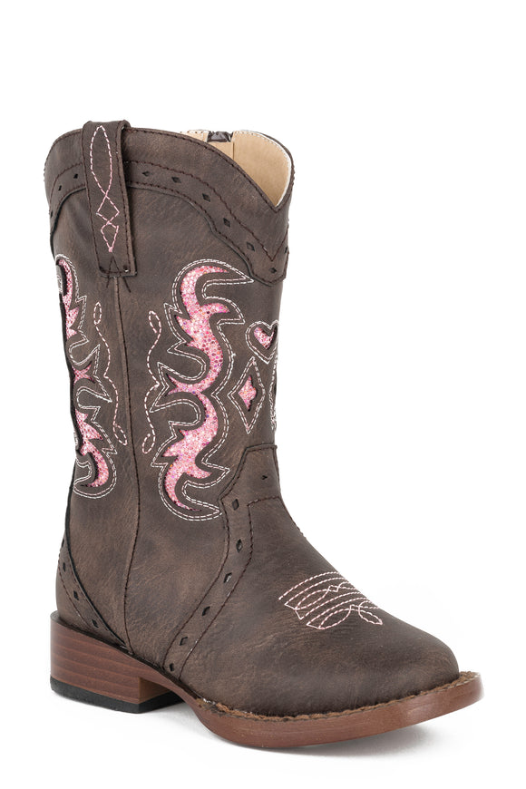GIRLS TODDLER BROWN FAUX WITH PINK GLITTER INLAY