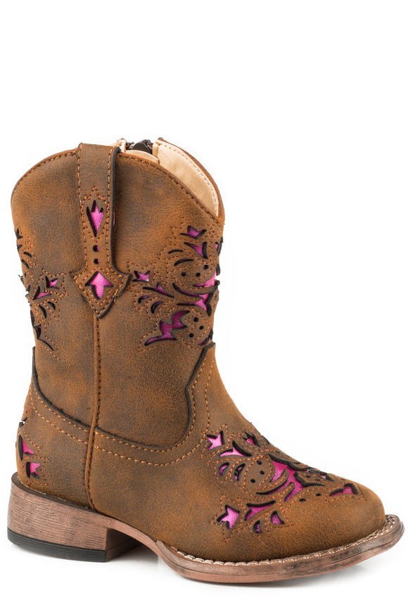GIRLS TODDLER VINTAGE BROWN WITH PINK METALLIC UNDERLAY