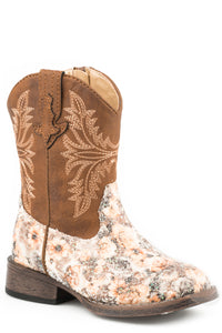 GIRLS TODDLER BROWN MULTI FLORAL GLITTER