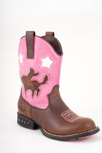 LITTLE GIRLS BROWN AND PINK SHAFT WITH LIGHTS IN HEEL