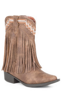 LITTLE GIRLS FAUX BROWN LEATHER WITH FRINGE