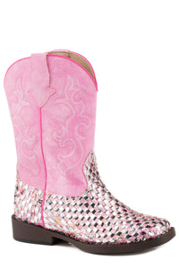LITTLE GIRLS PINK MULTICOLOR GLITTER
