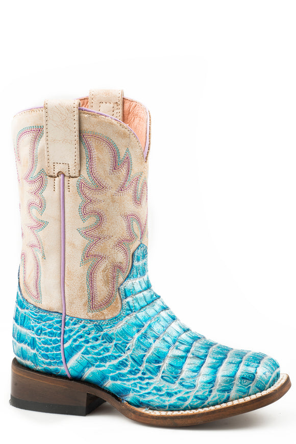 LITTLE GIRLS TURQUOISE FAUX CAIMAN SQ TOE VAMP