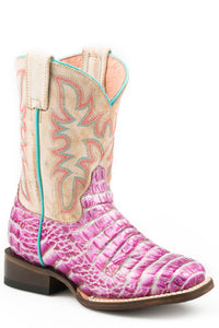 LITTLE GIRLS PURPLE FAUX CAIMAN SQ TOE VAMP