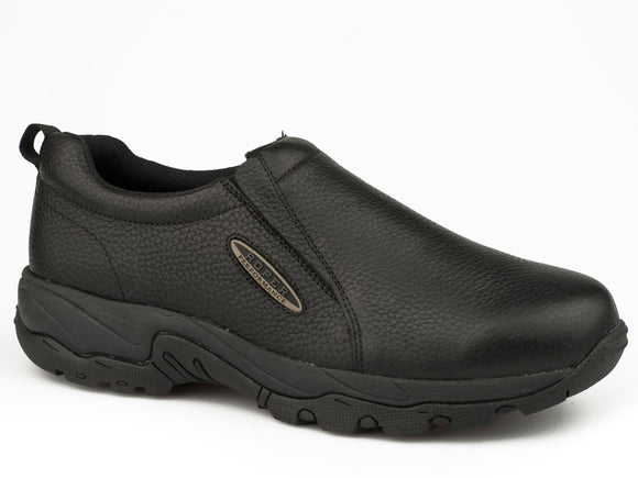 MENS BLACK TUMBLED LEATHER SLIP ON