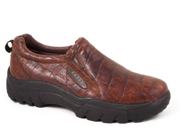 MENS PERFORMANCE SLIP ON REDDISH BROWN EMBOSSED CROC LEATHER