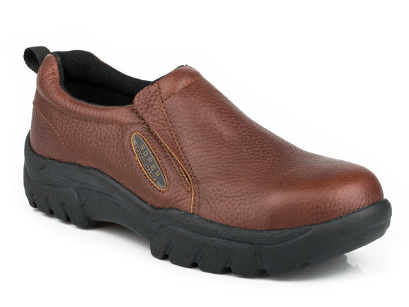 MENS PERFORMANCE SLIP ON BROWN TUMBLED LEATHER