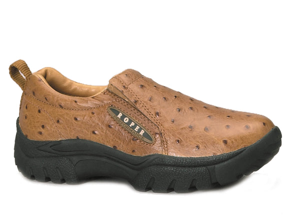 MENS PERFORMANCE SLIP ON TAN LEATHER EMBOSSED OSTRICH
