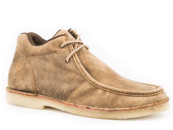 MENS GUM SOLE CHUKKA 2 EYELET LACE UP TAN VINTAGE LEATHER