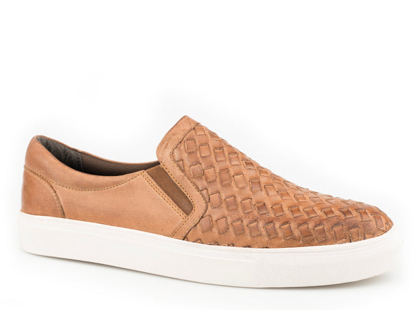 MENS ATHLETIC SLIP ON TAN BURNISHED AND WOVEN LEATHER