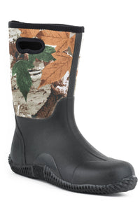 MENS BARNYARD BOOT CAMO NEOPRENE UPPER WITH PULL HOLE AND RUBBER BOTTOM