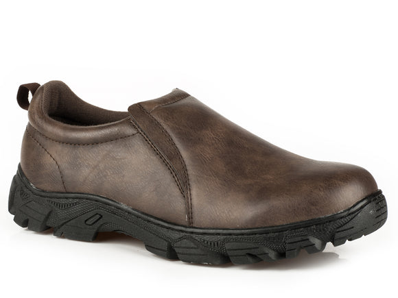 MENS PERFORMANCE SLIP ON BROWN TUMBLED FAUX LEATHER
