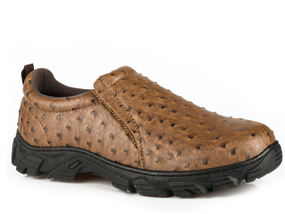 MENS PERFORMANCE SLIP ON TAN FAUX LEATHER EMBOSSED OSTRICH